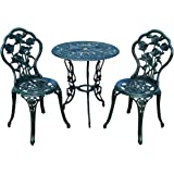 """Oakland Living Summer Rose 3 Piece Bistro Set with 23.5"""" Cast Aluminum Table and 2 Chairs, Verdi Green"""