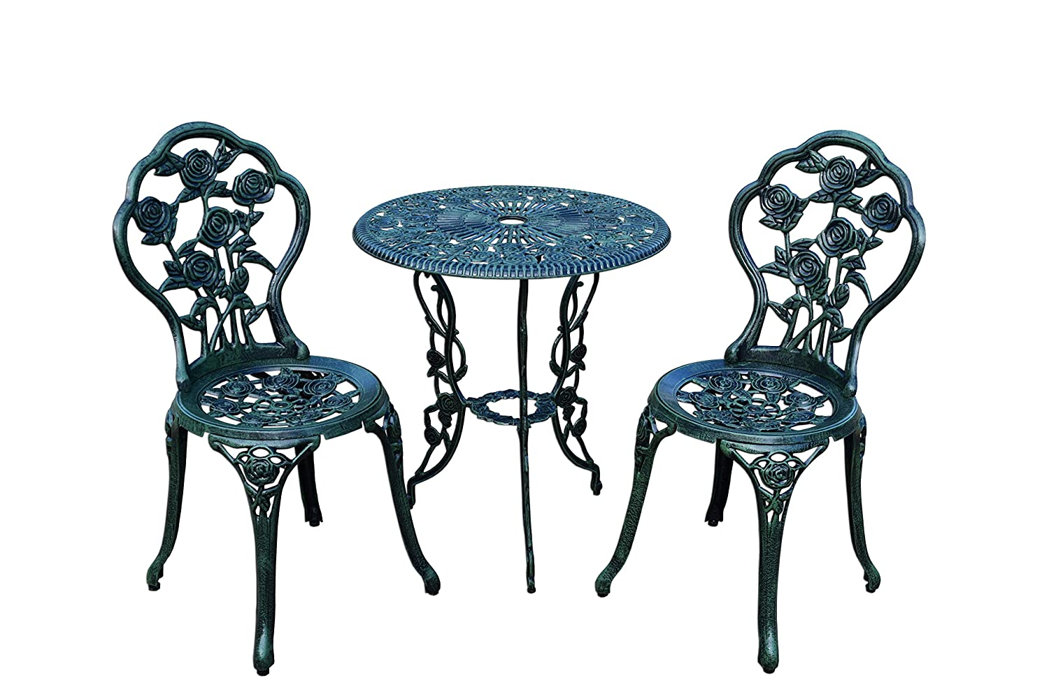 Beau Amazon.com: Rose 3 Piece Bistro Patio Set, Verdi Green, Aluminum Top Table:  Garden U0026 Outdoor