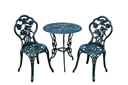 Charming Rose 3 Piece Bistro Patio Set, Verdi Green, Aluminum Top Table