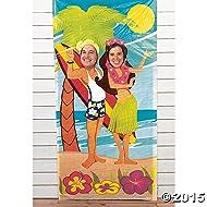 Fun Express Luau Couple Face Photo Door Banner Poster Party Decor