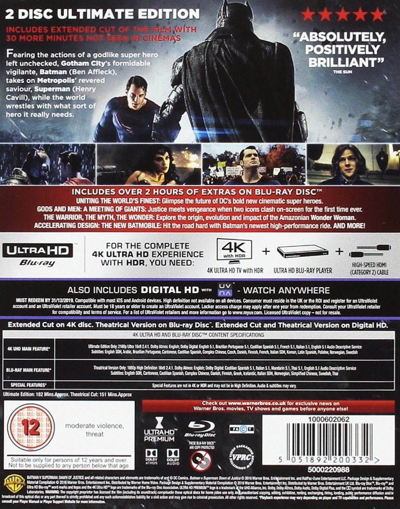 0985e4b85 Batman v Superman  Dawn of Justice Ultimate Edition 4K Ultra HD Includes  Digital Download Blu-ray 2016 Region Free  Amazon.co.uk  Ben Affleck