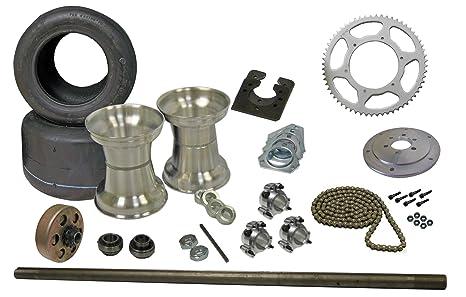 Drift Trike Eje Eje de Kit con cadena de llantas de neumáticos,, & Embrague
