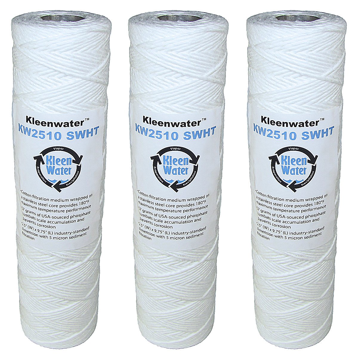 KleenWater High Temperature Water Filters, 2.5 x 9.75 Inch String Wound Cartridges, Stainless Steel Core with Scale Inhibitor, 3 Pack