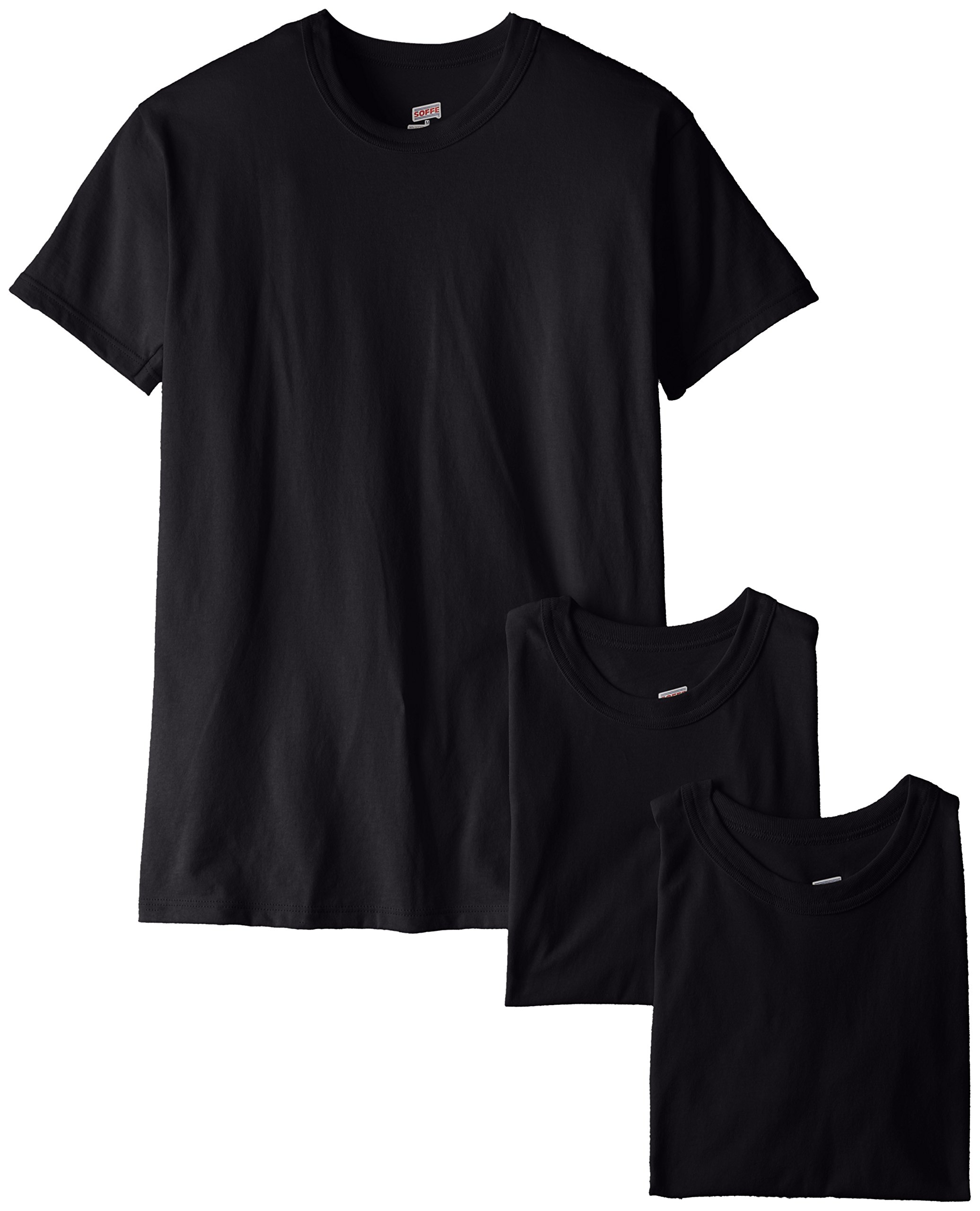 Soffe Men's 3-Pack Short Sleeve Crew Neck Military T-Shirt, Black, Small