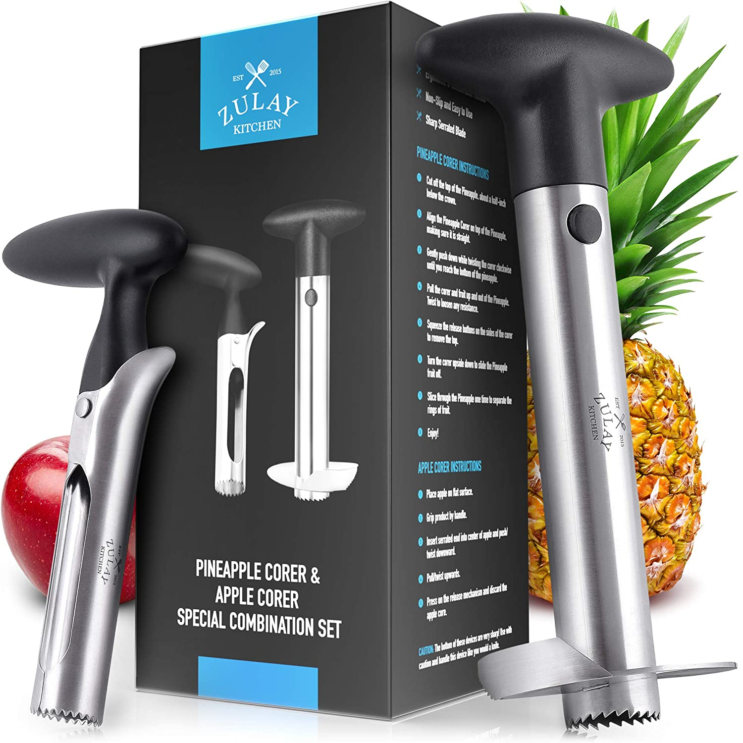 Zulay Kitchen Pineapple and Apple Corer Combo - Stainless Steel Pineapple Corer And Slicer Tool - Ergonomic Apple Corer Tool and Pineapple Cutter For Easy Core Removal