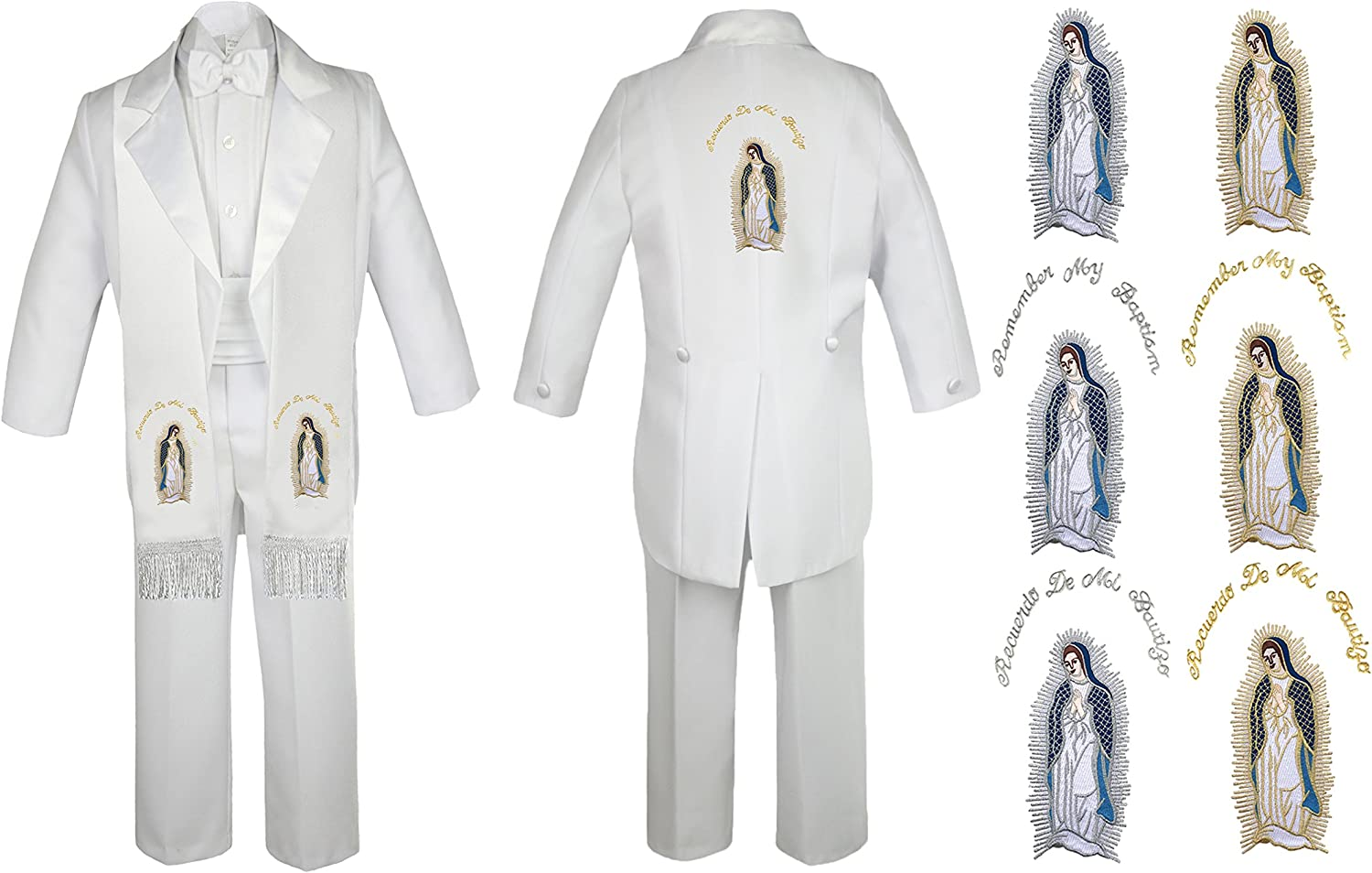 Unotux Boys Christening Baptism Suits Tuxedo White Tail Maria Virgin Mary S-14