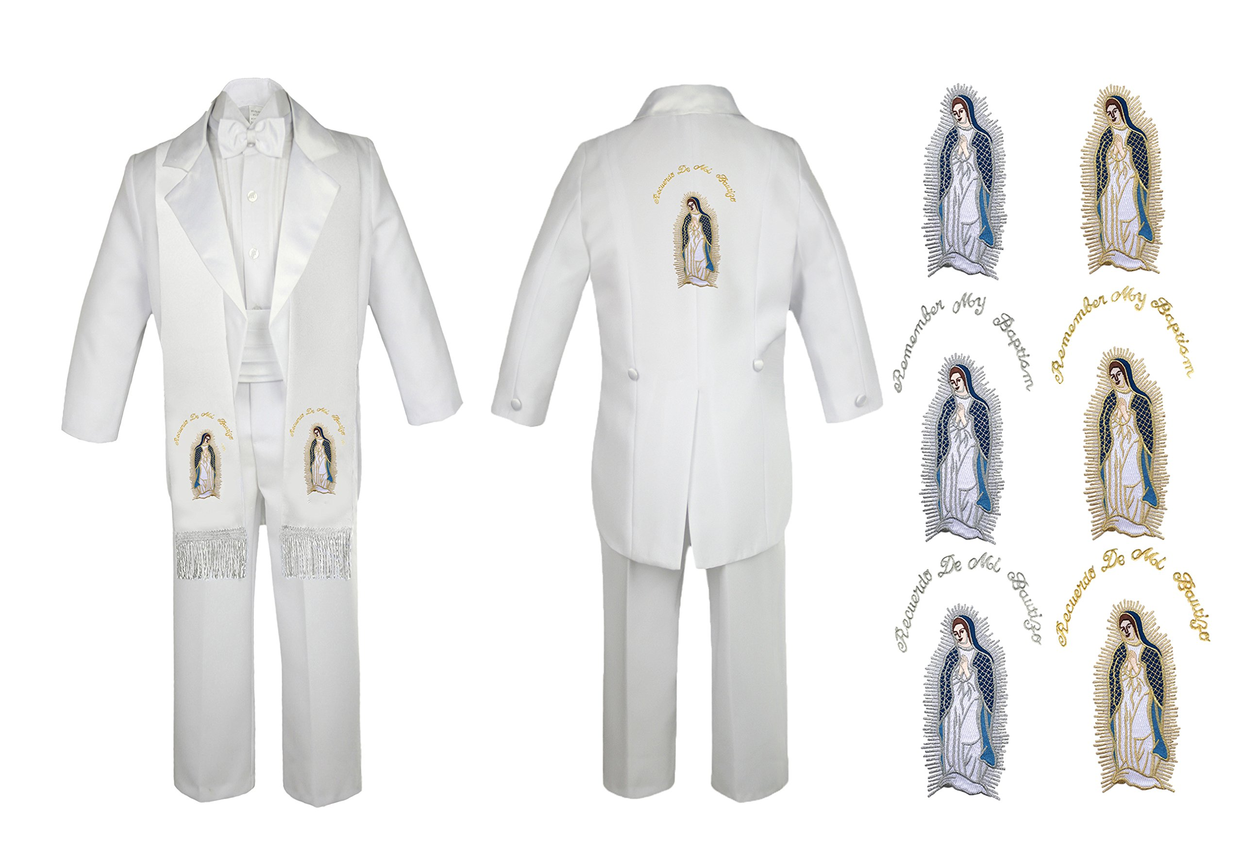 Baby Boy Christening Baptism Church White Tail Suit Mary Maria Stole Back Sm-7 (3T, Full Color Silver English) by Unotux