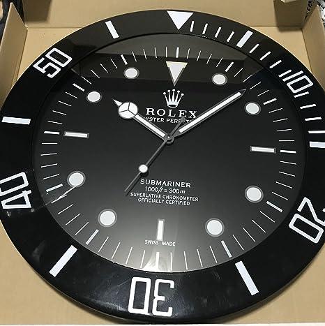 replica Rolex 55 mm de Pared subamariner Abrazadera Negro Metal Movimiento silencioso