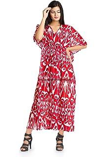 9c17679c03 HANDICRAFT-PALACE Beach Cover Up Kaftan Boho Hippy Indian Ikat Plus Size  Women Dress Caftan
