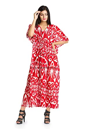 8fccc8660ce Image Unavailable. Image not available for. Color  HANDICRAFT-PALACE Beach  Cover Up Kaftan Boho Hippy Indian Ikat Plus Size Women Dress Caftan