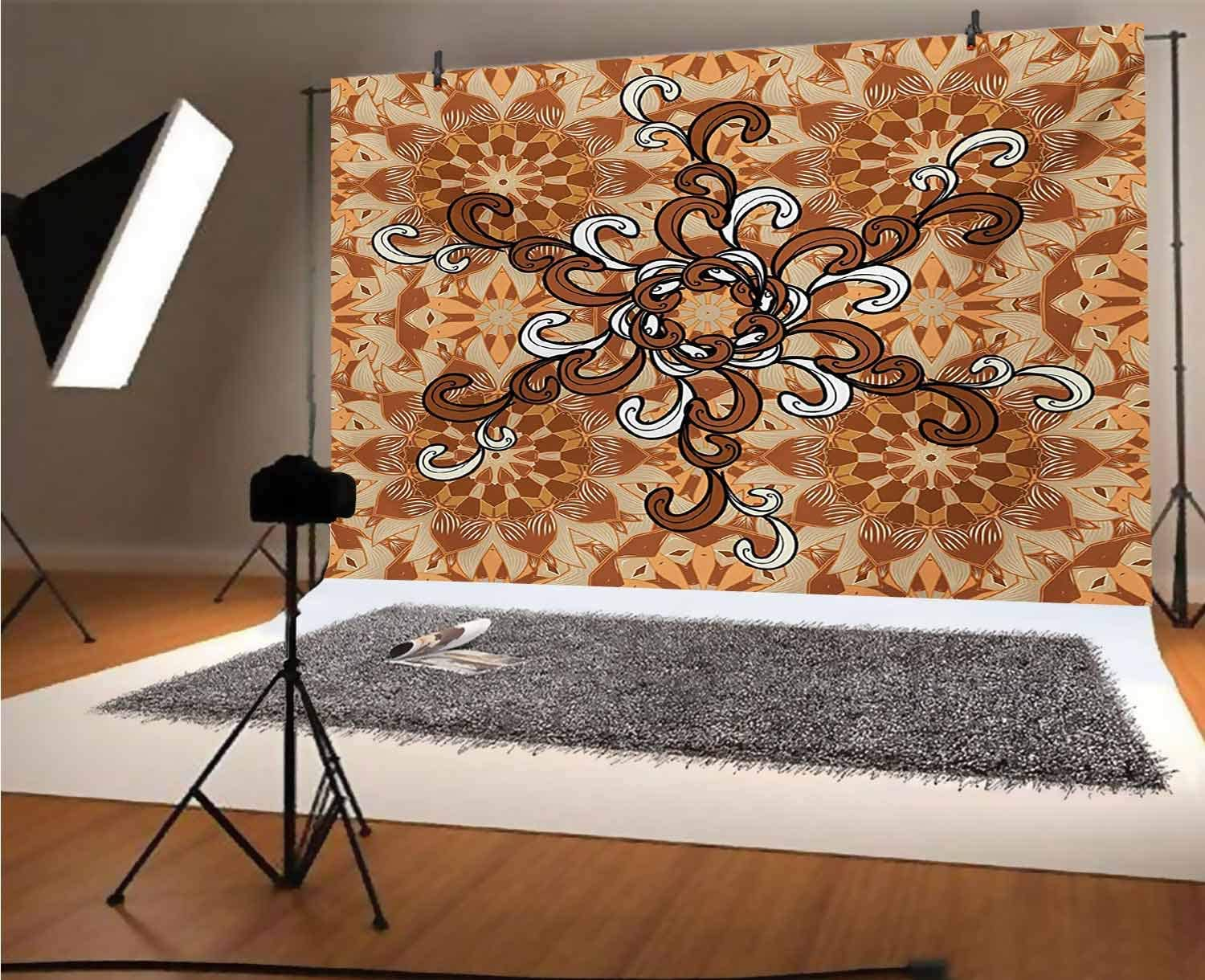 Tan 10x12 FT Photo Backdrops,Overlapping Circles with Big and Small Polka Dots Pattern Gradient Modern Display Background for Baby Shower Birthday Wedding Bridal Shower Party Decoration Photo Studio