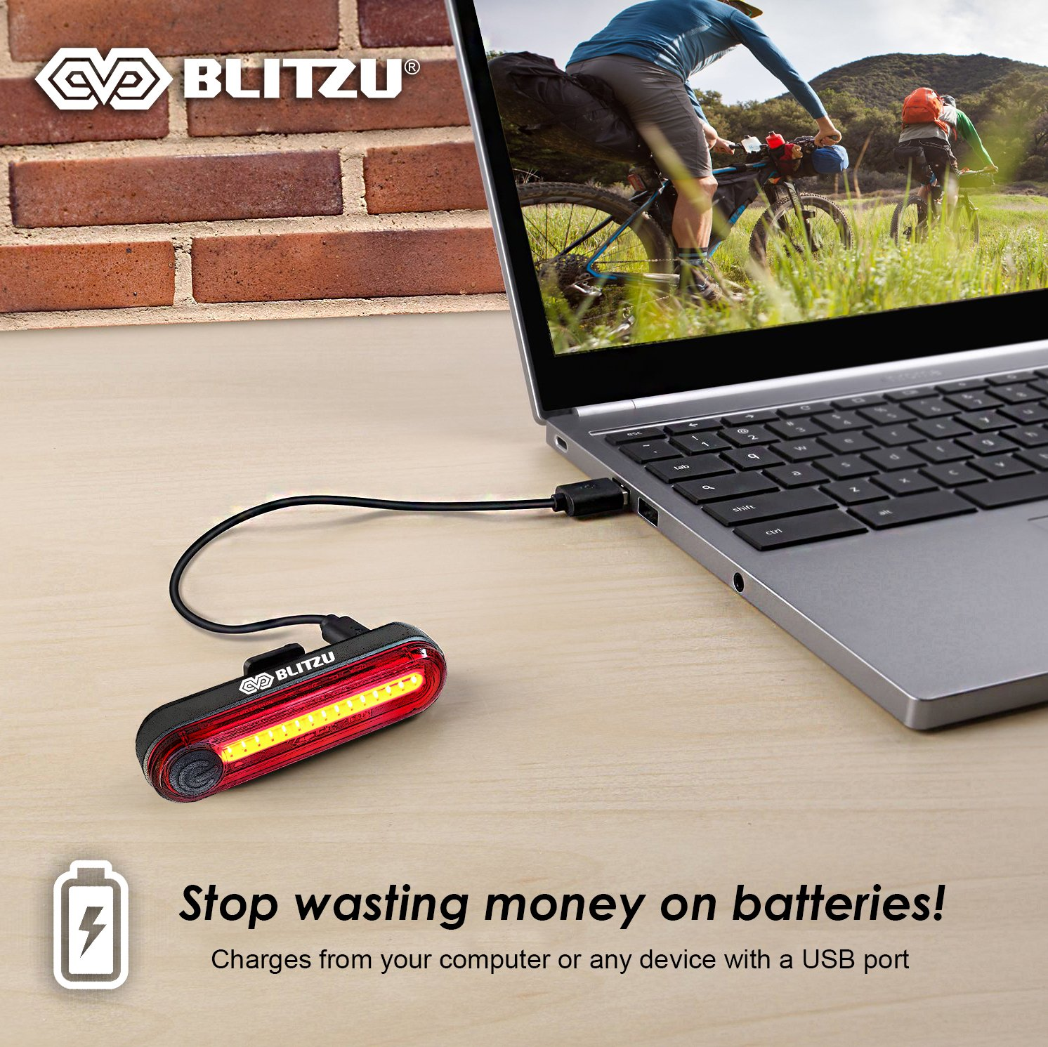 BLITZU Gator 380 USB Rechargeable Bike Light Set POWERFUL Lumens Bicycle Headlight FREE TAIL LIGHT, LED Front and Back Rear Lights Easy To Install for Kids Men Women Road Cycling Safety Flashlight by BLITZU (Image #4)
