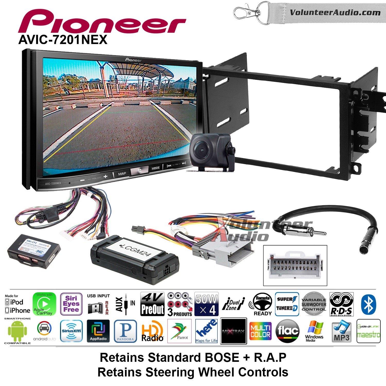 Pioneer AVIC-7201NEX Double Din Radio Install Kit with GPS Navigation Apple CarPlay Android Auto Fits 2003-2005 Chevrolet Blazer, 2003-2006 Silverado, Suburban (Bose and SWC)