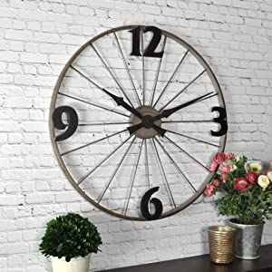 "FirsTime & Co. Bicycle Wheel Wall Clock, 20"", Iron,50077"