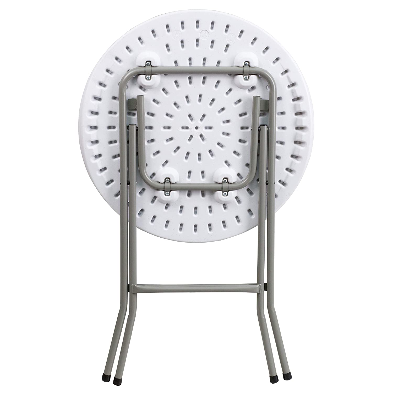 Flash Furniture 24 Round Granite White Plastic Folding Table 2 Pack