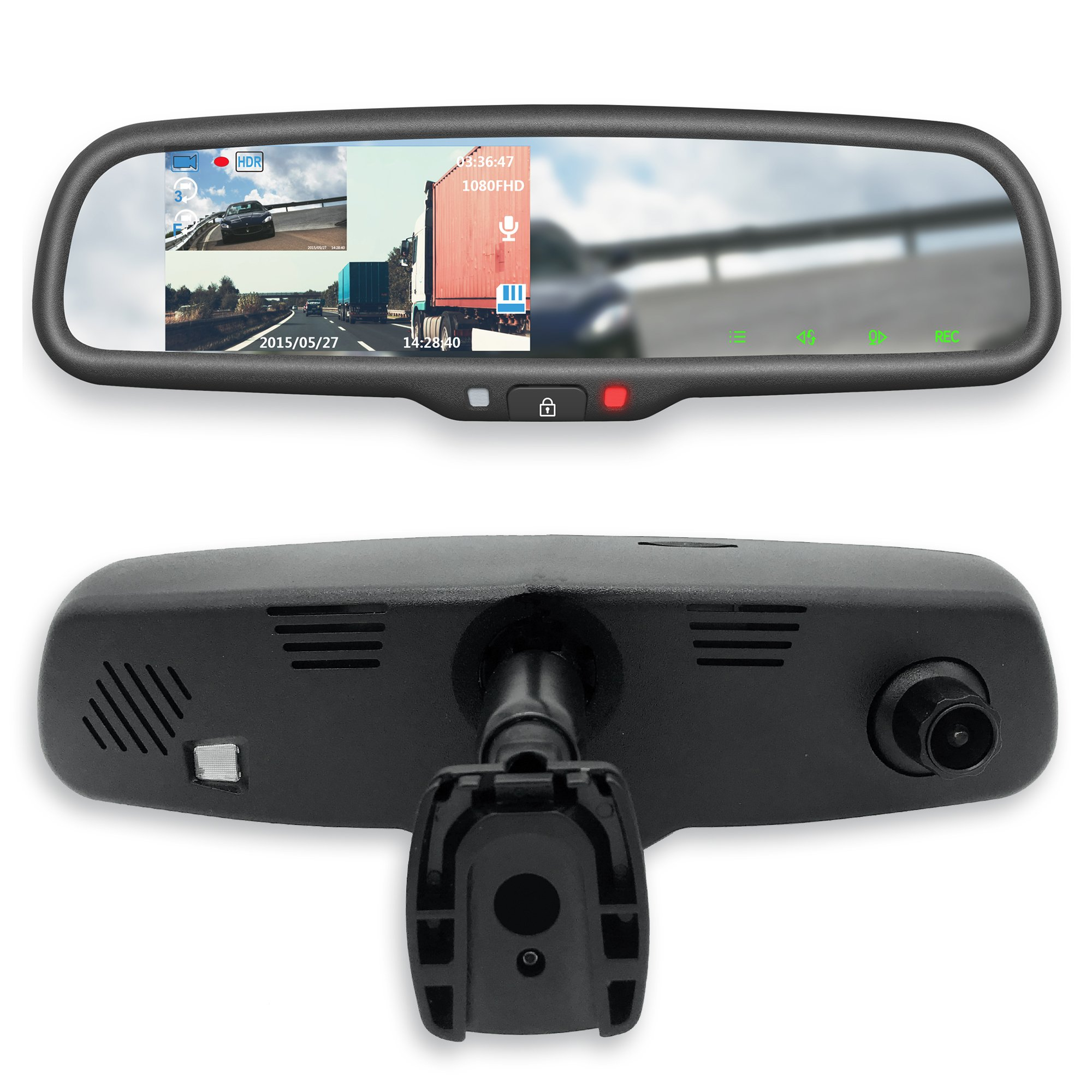 Master Tailgaters 4.3'' LCD Rear View Mirror with 1080P 60FPS HD DVR Recorder with Superior Night Vision + Wifi