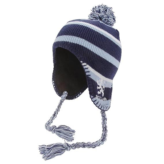 Gorro invierno estilo peruano diseño Scotland con borlas y detalle Leon niños niñas (Talla Única