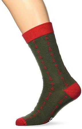 Besocks 00091, Calcetines para Hombre, Multicolor (Verde Militar/Rojo), 35