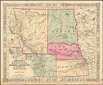 Amazon.com: Historic Map - Johnson\'s Nebraska, Dakota ...