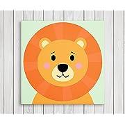 Cute Little Animals Nursery Wall Decor, Baby Room Canvas Art (11  W x 11  H, Lion)