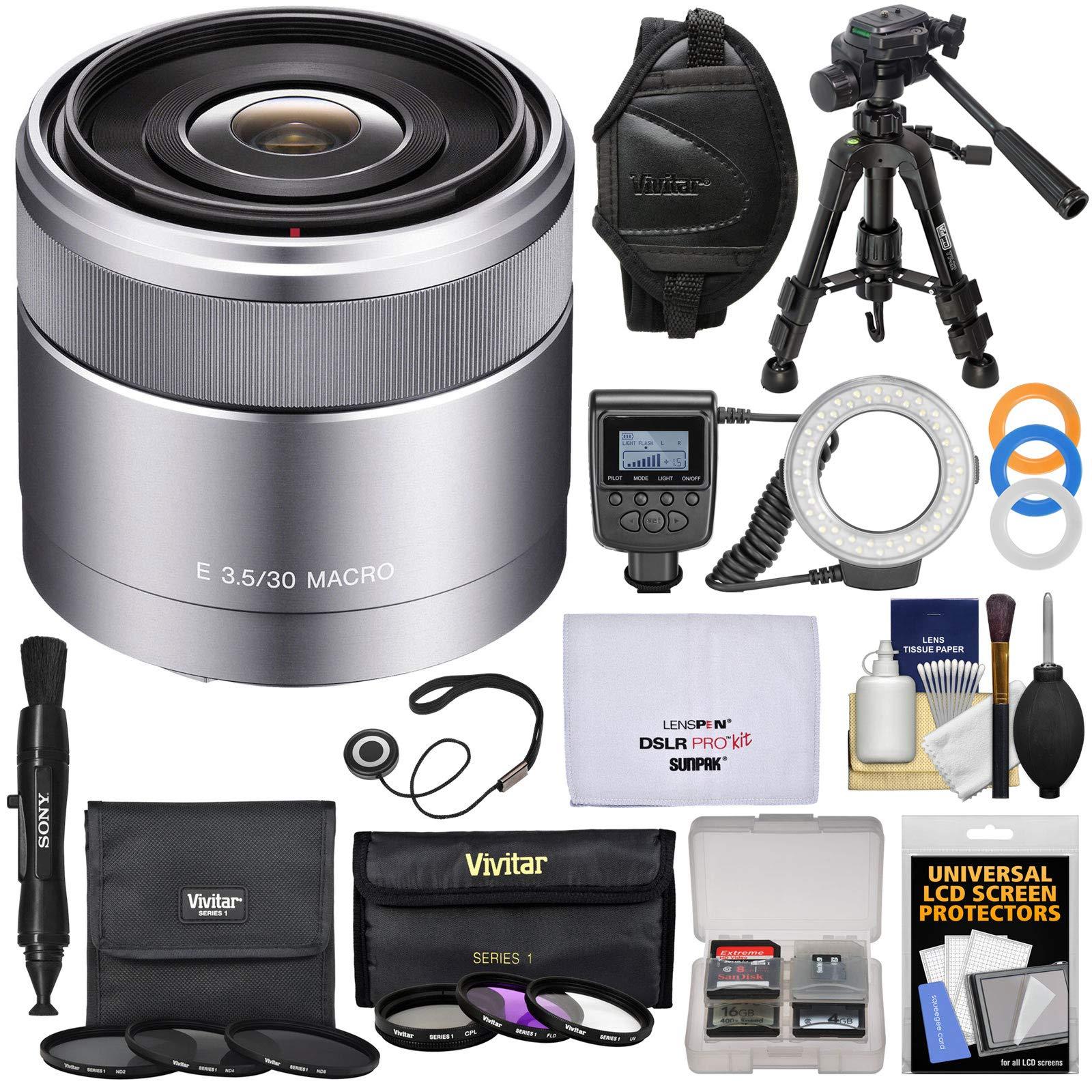 Sony Alpha E-Mount 30mm f/3.5 Macro Lens with Ring Light + Macro Tripod + 6 UV/FLD/CPL/ND Filters + Wrist Strap + Kit