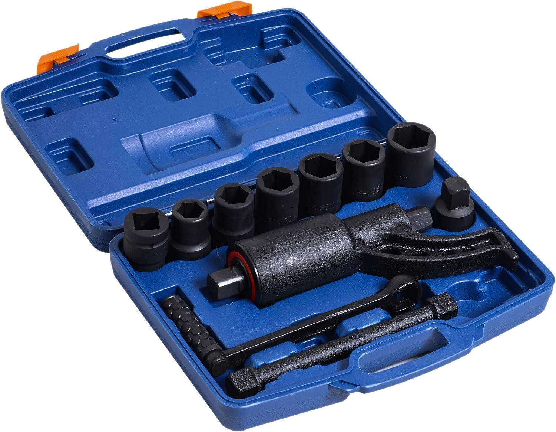 DURHAND 11pcs Heavy Duty Torque Multiplier Wrench Set Socket Lug Nut Remover 1:64 Labor Saving Kit