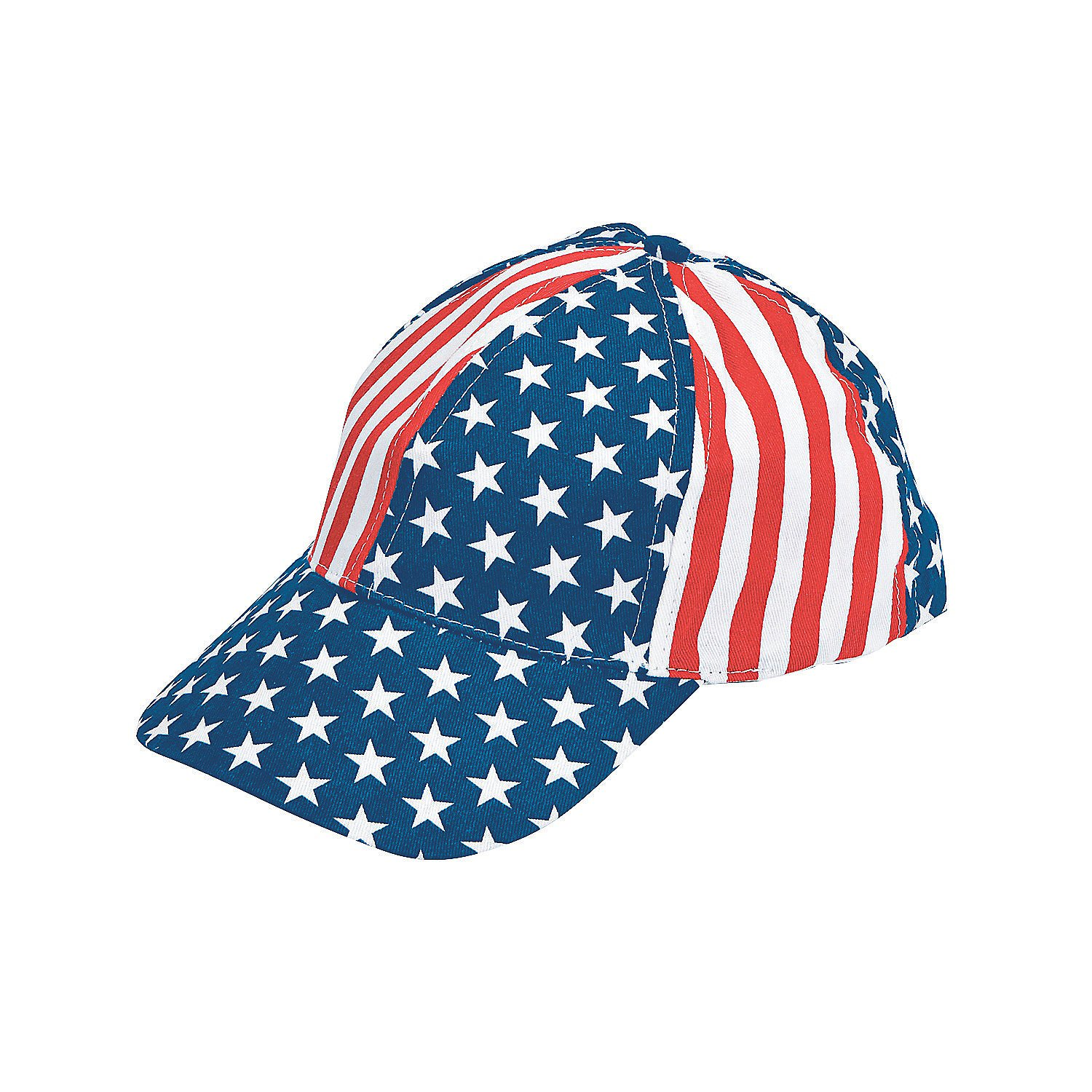 Fun Express - Patriotic Baseball Caps for Fourth of July - Apparel Accessories - Hats - Baseball Caps - Fourth of July - 12 Pieces