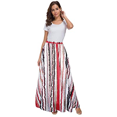 Afibi Women Floral Print Pleated Vintage Chiffon Long Maxi Skirt at Women's Clothing store