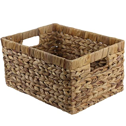 Merveilleux Wellhouse Hand Woven Straw Water Hyacinth Storage Baskets Book Snack Storage  Box Bin