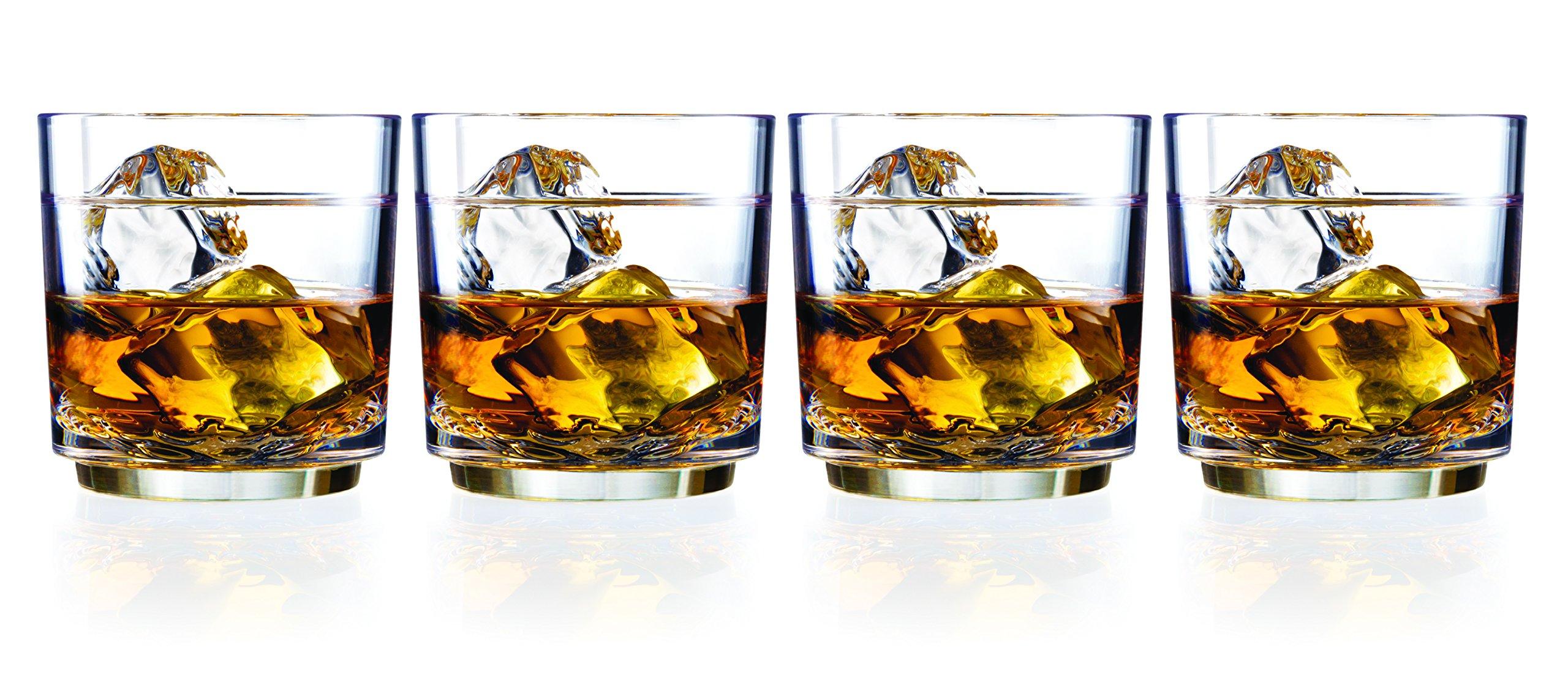 Drinique Elite Rocks Unbreakable Tritan Whiskey Glasses, 10 oz (Set of 4), Clear