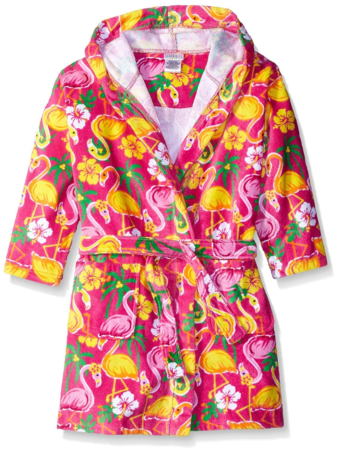 Komar Kids Girls Flamingo Print Cotton Terry Robe Cover Up, Kids Size M(7/8)