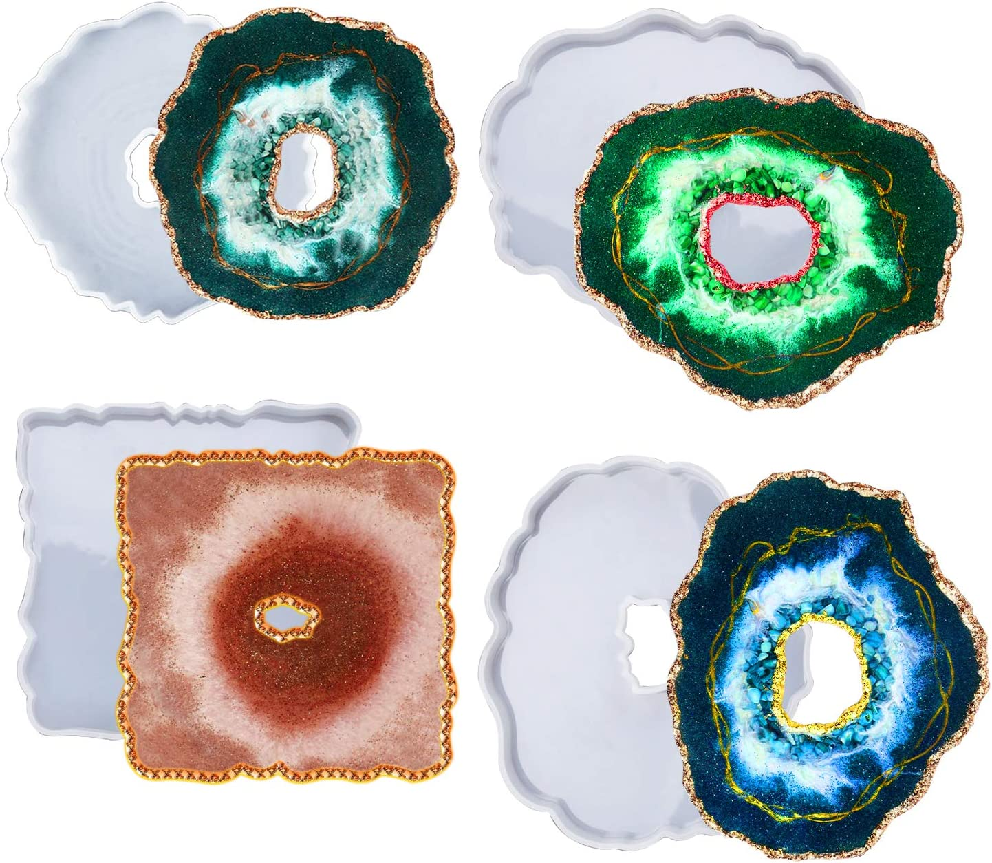 Resin Coaster Molds with 4PCS Druzy Geode Silicone Molds, Hollow Agate Coaster Epoxy Molds,Silicone Resin Molds for for Making Faux Agate Slices,Coasters, Home Decoration