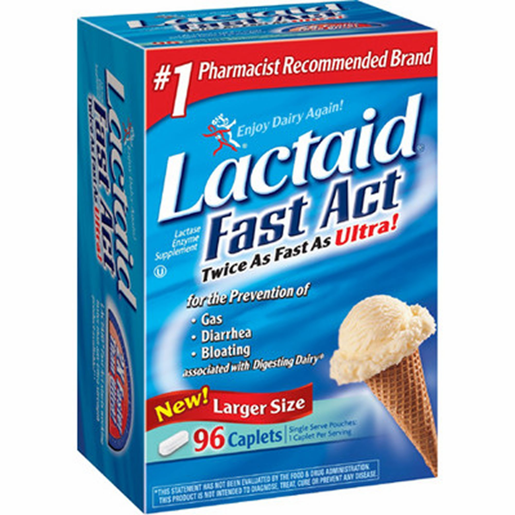 Lactaid Fast Act Lactase Enzyme Supplement, 96 ct. (pack of 6) by Lactaid