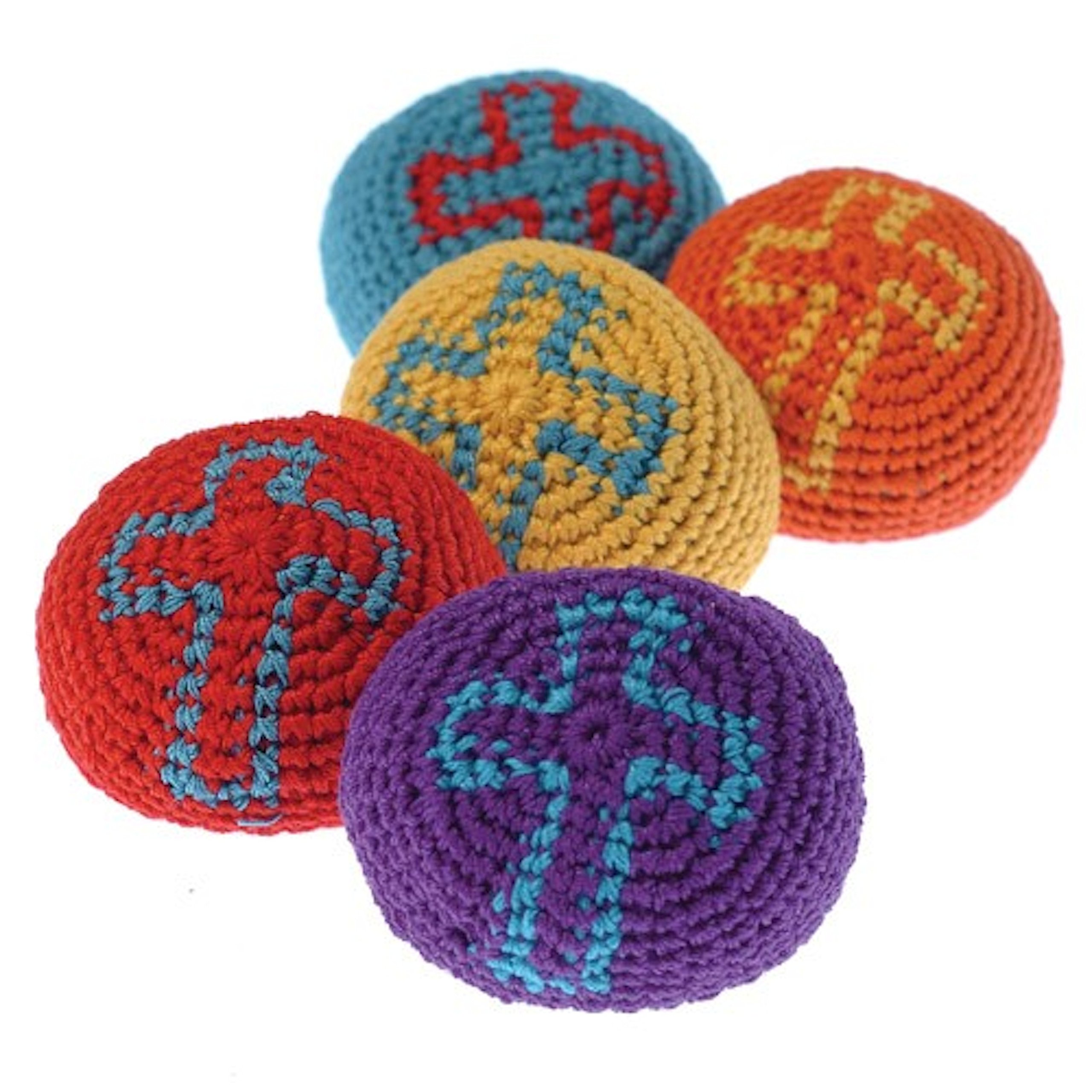 Lot Of 12 Assorted Color Religious Christian Theme Cross Knitted Hackie Sacks by US Toy