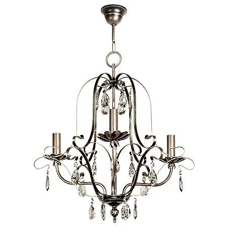 Lámpara de techo de 3 luces acabado plata vieja con velas y ...