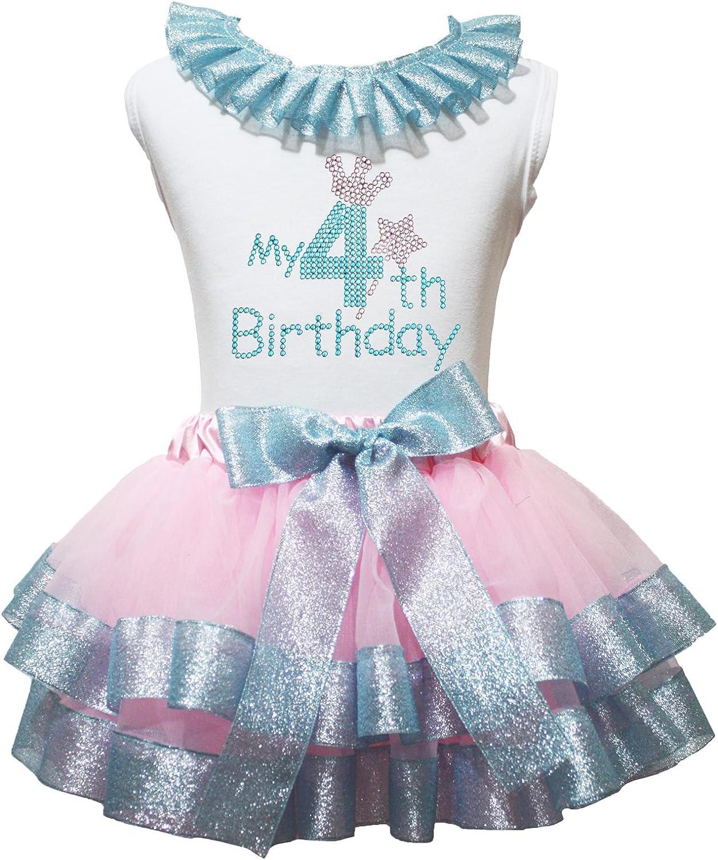 Petitebelle Mi 4th Birthday Vestido Camisa Rosa luz Azul Cinta ...