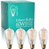 Edison Bulbs 4 Pack - Dimmable 60W Incandescent Exposed Filament Light Bulb - 240 Lumens