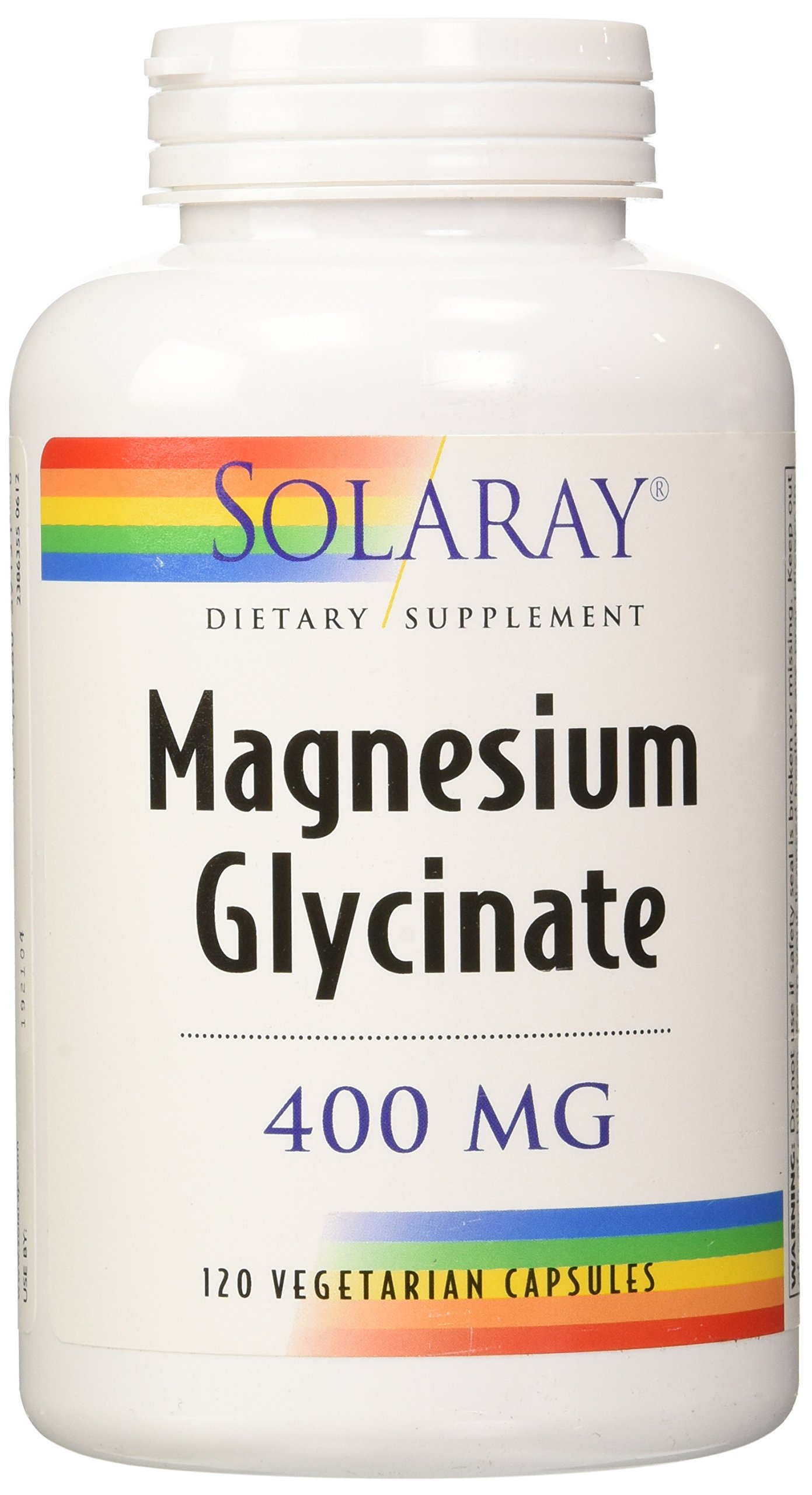 Solaray Magnesium Glycinate Dietary Supplement, 400 mg per 4 Capsules, 120 Count