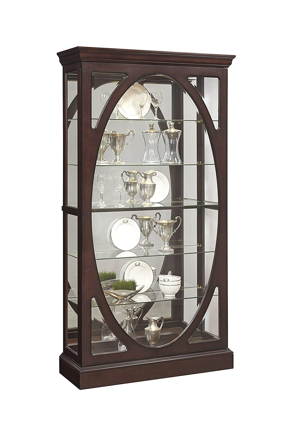 Design China Cabinets And Hutches china cabinets amazon com pulaski p021569 sable oval framed mirrored curio cabinet 43 0 x 15 1
