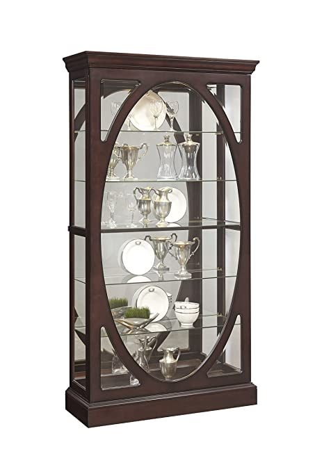 Pulaski P021569 Sable Oval Framed Mirrored Curio Cabinet 43.0u0026quot; X  15.1u0026quot; ...