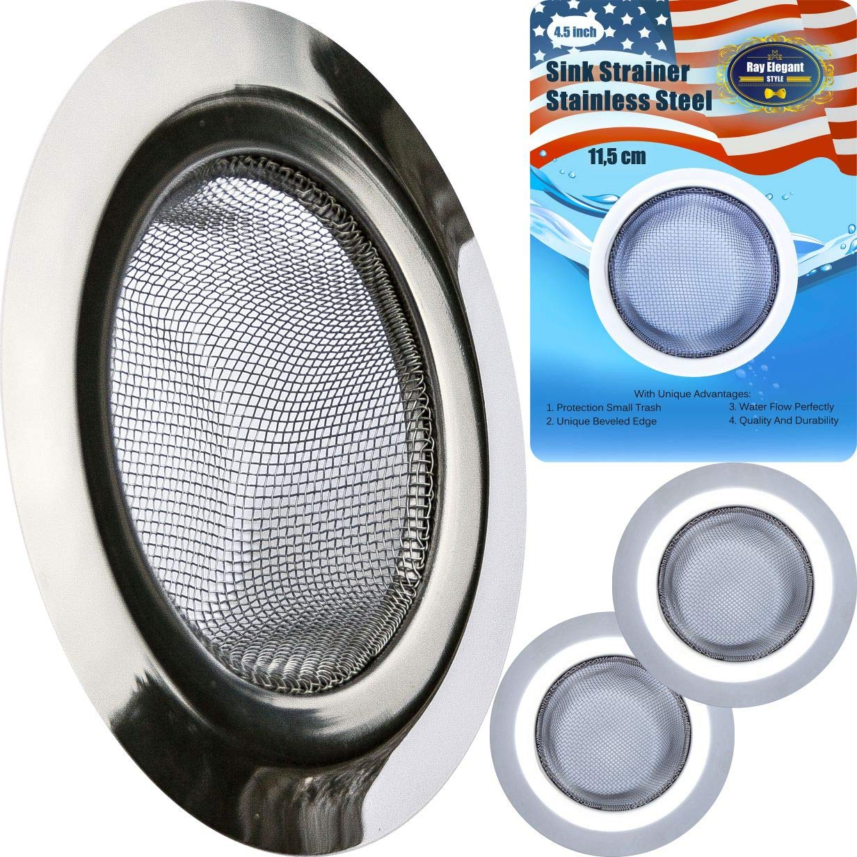 Kitchen Sink Strainer - 2 PC Stainless Steel Sink Strainer 4.5'' - Strong, Clean, Reliable Stainless Steel Prevent Rust, Edges Not Sharp, Deep Mesh, Quick Outflow - Outer 4.5'' x Inner 2.75'' x Deep 1.5''
