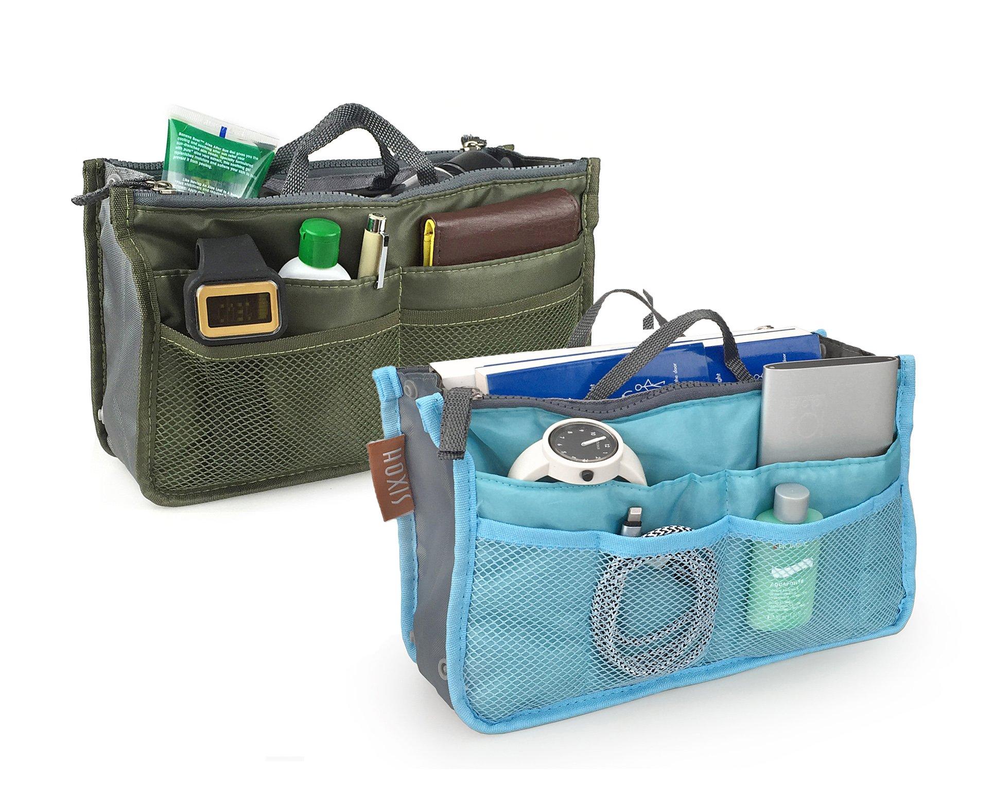Hoxis Multifunction Travel Insert Handbag Organiser Purse Liner Organizer Pack of 2 (Green&Blue)