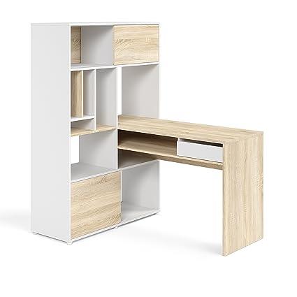Tvilum 8017849ak Weston 1 Drawer 2 Sliding Door Desk White/Oak Structure  sc 1 st  Amazon.com & Amazon.com: Tvilum 8017849ak Weston 1 Drawer 2 Sliding Door Desk ...