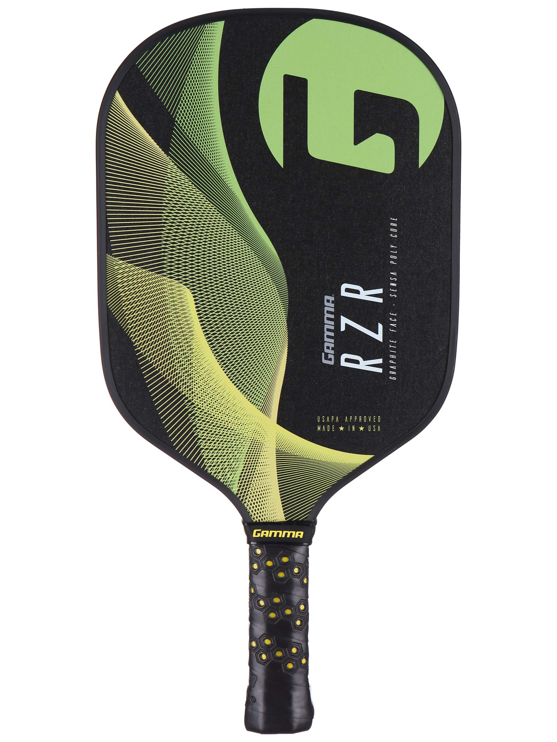 Gamma RZR Composite Pickleball Paddle: Pickle Ball Paddles for Indoor & Outdoor Play - USAPA Approved Racquet for Adults & Kids - Green/Yellow by Gamma (Image #1)