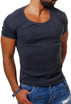 07aafebd8f9f Young   Rich Herren Uni feinripp Basic T-Shirt tiefer runder V-Ausschnitt  slimfit