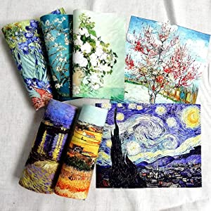 7 pcs of 20x25cm high Precision Printed Painting of Van Gogh Cotton Canvas,Fabric for Sewing,Fabric for Making Bags, Quilting,Wall Decor,Cotton DIY Sewing Materials Fabric