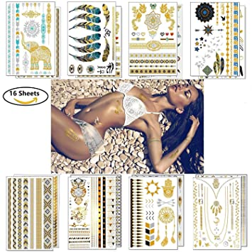 Flash Tattoos Vakki 16 Blätter Klebe Tattoo Ungiftig Wasserdicht Kinder Metallic Tattoo Mit 300 Motiven Body Temporäre Tattoos Zum Aufkleben Für