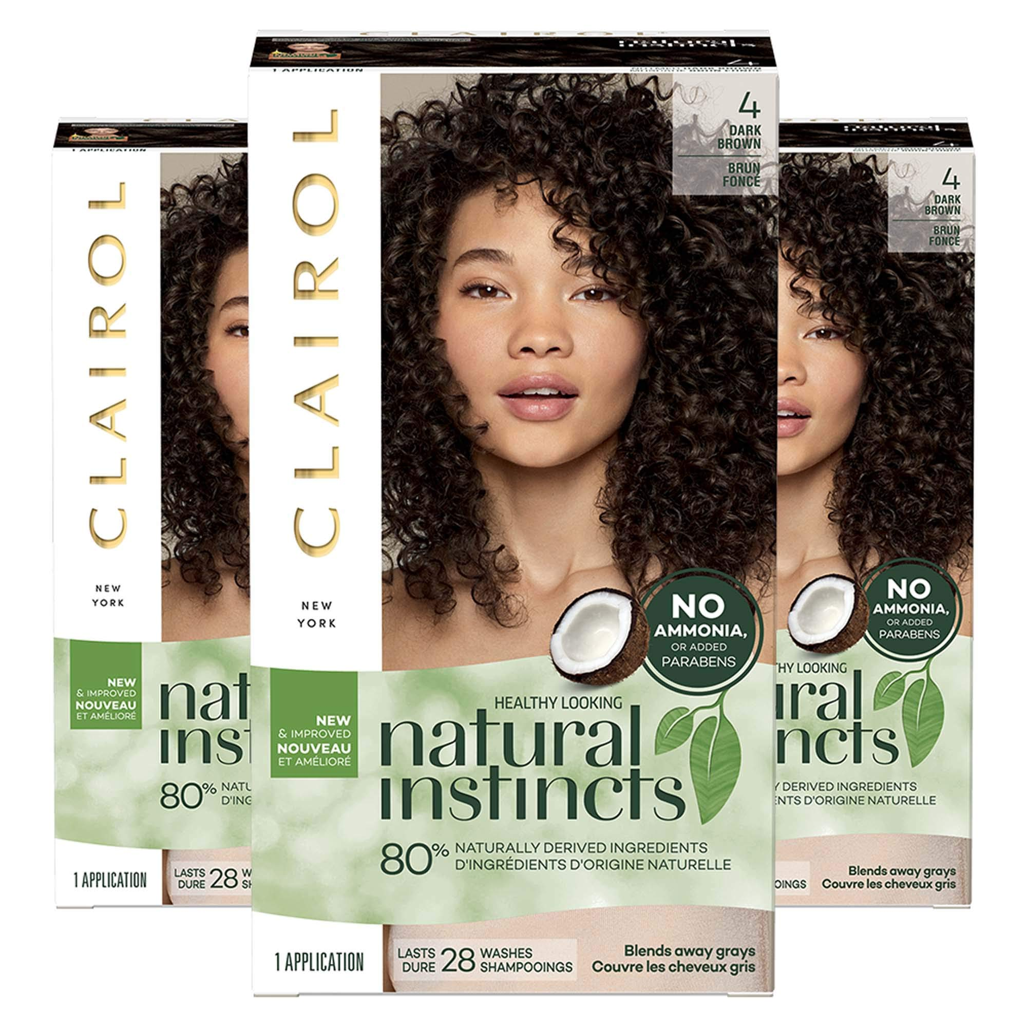 Clairol Natural Instincts Non-Permanent Hair Color Kit - 4 Dark Brown - 3 Count