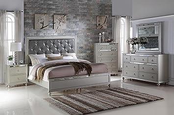 Soflex Kiana Silver Grey Diamond Tufted Headboard Panel Bedroom Set 6 Pcs  Contemporary (Queen)