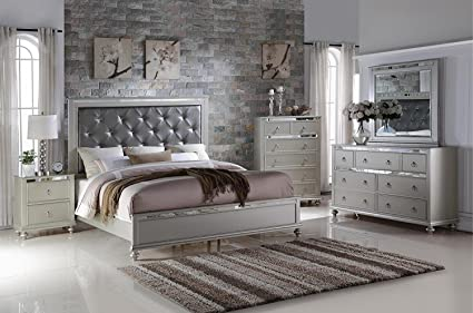 amazon com soflex kiana silver grey diamond tufted headboard panel rh amazon com Upholstered King Bedroom Sets white tufted headboard bedroom set